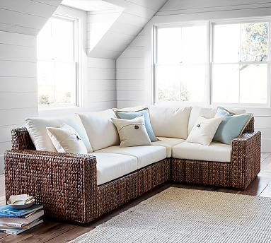 Seagrass Square Arm Sectional, 4 Piece Set, Havana Dark | *Sofa U0026 Sectional  Collections U003e Seagrass* | Pinterest | Sunroom, Sunroom Decorating And Room