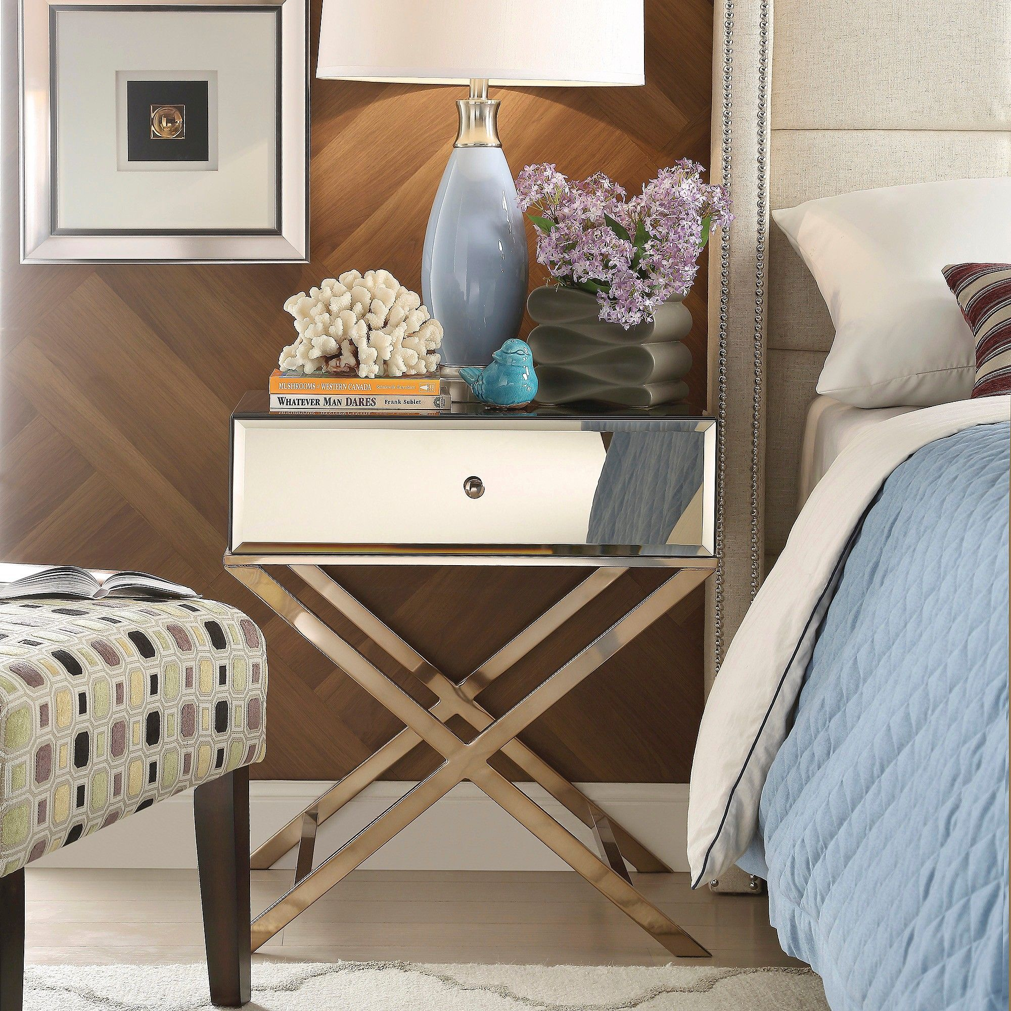 Inspire Q Whitney Mirrored Campaign Accent Table