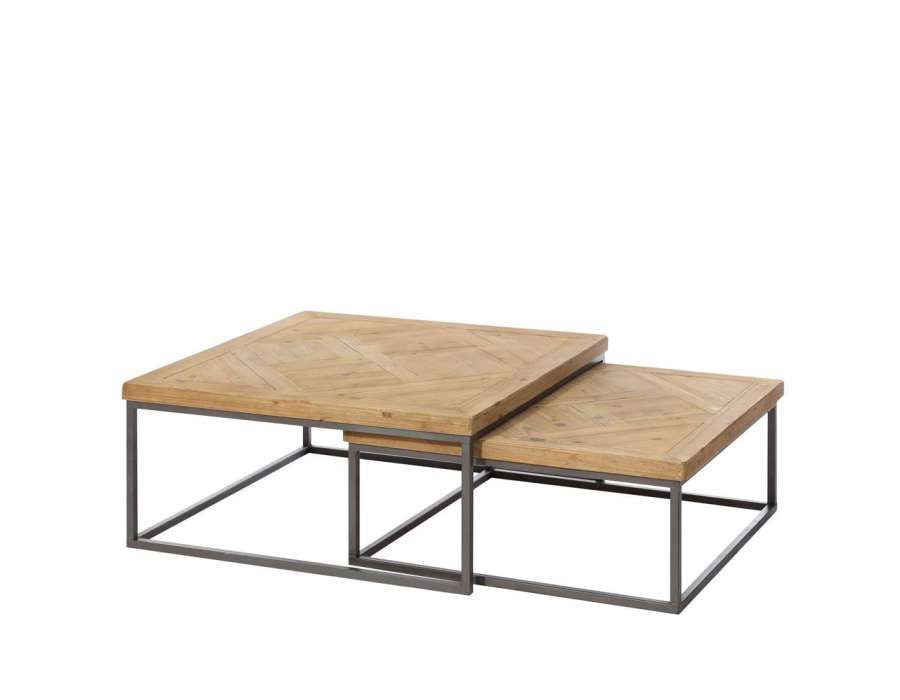 Table basse double gigogne ixia m tal et bois bois for Table de salon industriel