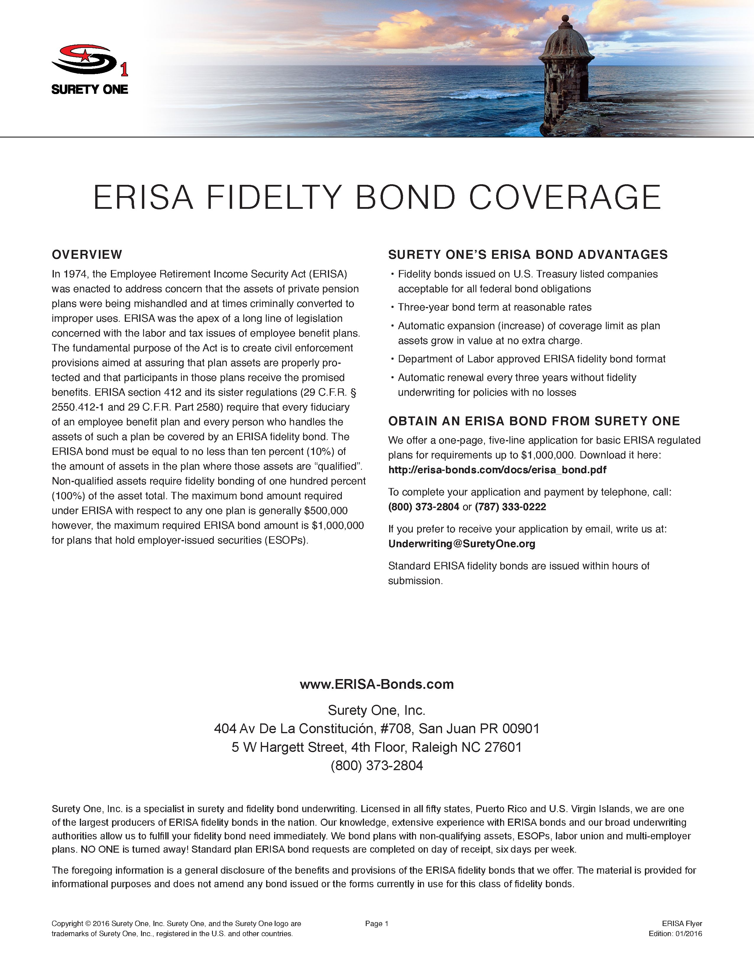 Erisa Fidelity Bond Highlights Bonding For All Classes Of Business