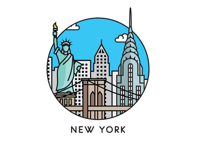 Illustration Chrysler Brooklyn Liberty Little York City Bit Nyc New Of Aa Little Bit Of Iconos De Instagram Set De Iconos Ilustracion De La Ciudad