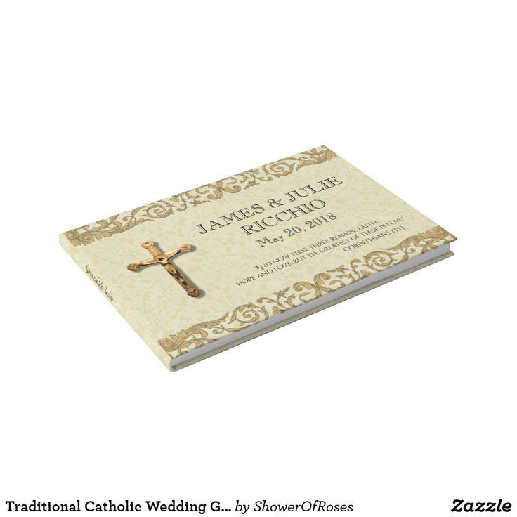 Traditional Catholic Wedding Gold Crucifix Lace Guest Book