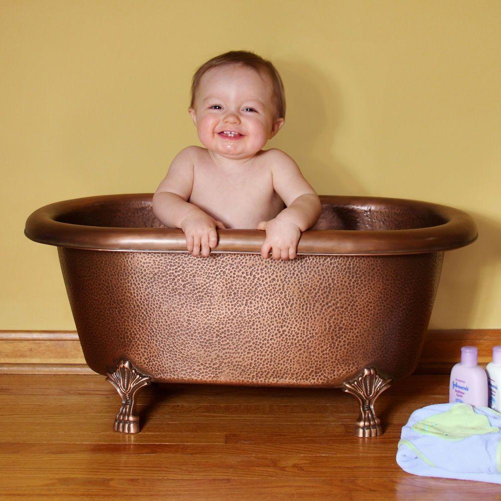Baby Caleb Hammered Copper Clawfoot Tub | Copper bath, Bath tubs and ...