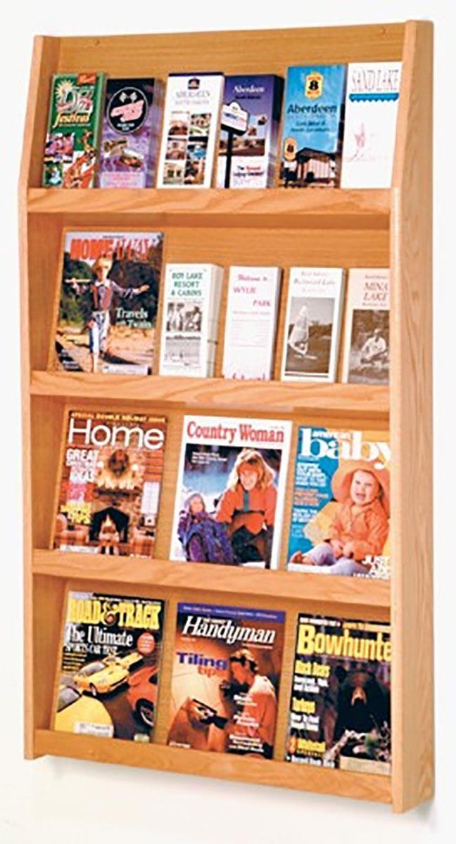 4 Tiered Wood Literature Wall Rack 4 8 5 W 12 24 Pockets Light Oak Literature Display Rack Brochure Display Wall Display