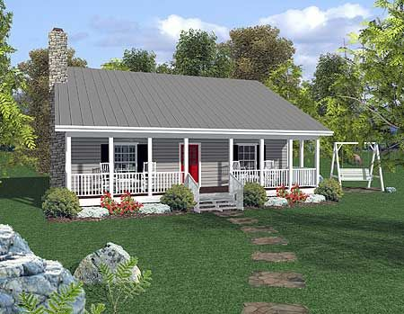 Plan 20037ga Rocking Chair Retreat Ranch Style House Plans Cottage Style House Plans Ranch House Plans