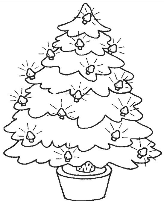 Christmas Tree With Lights Small Coloring Pages ...