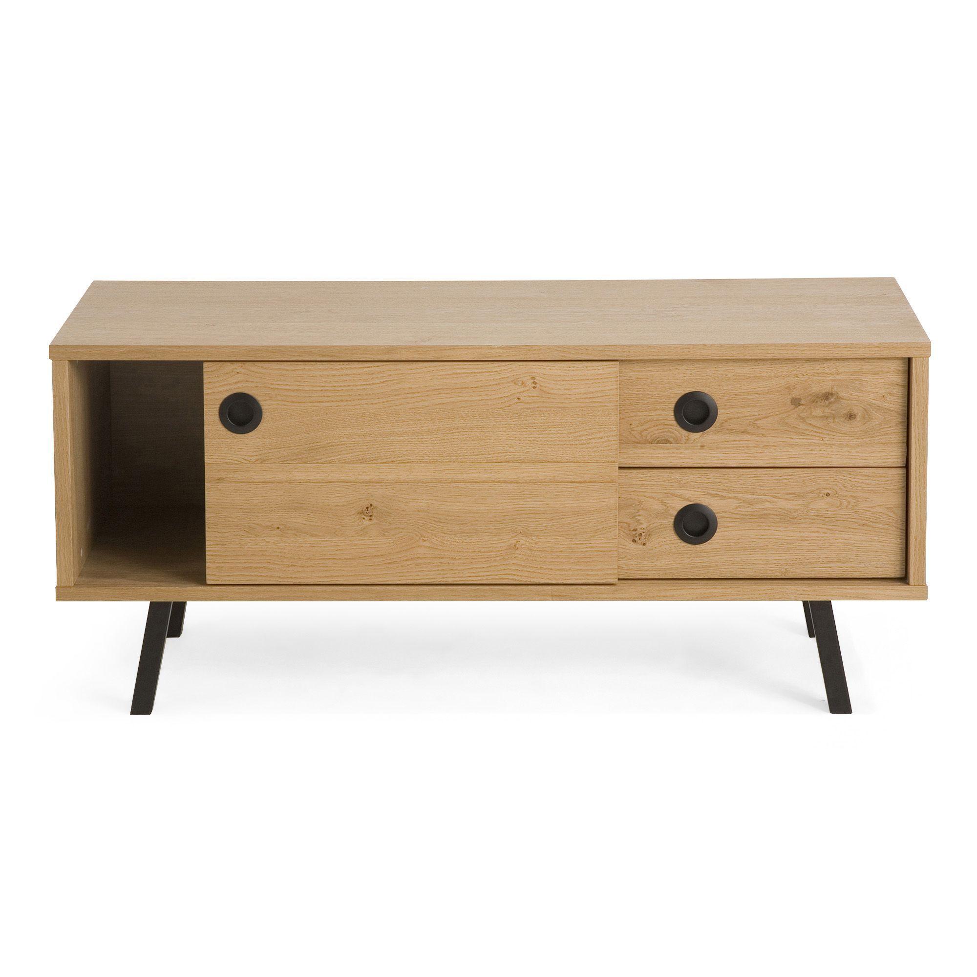 meuble tv 1 porte coulissante et 2 tiroirs norway meuble les meubles tl - Alinea Meuble Tv Porte Coulissante