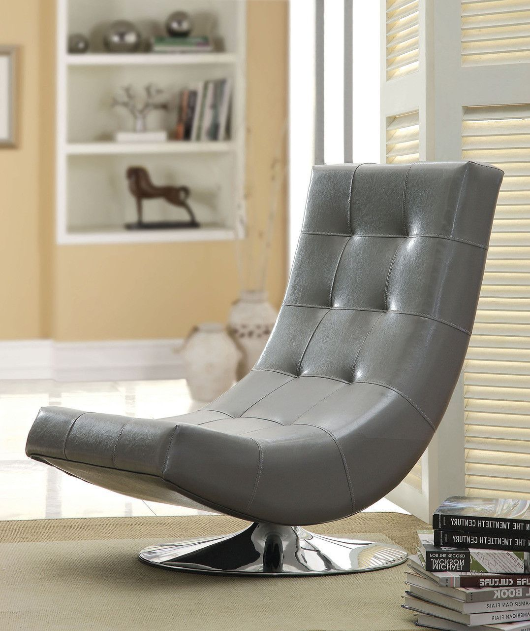 swivel accent chairs for living room. Furniture of America Dresden Leatherette Swivel Armless Accent Chair  Gray Clean simple lines mean this modern swivel accent chair blends well with a ACCENT CHAIR IN GRAY CM AC6912GY TRINIDAD COLLECTION Ultra