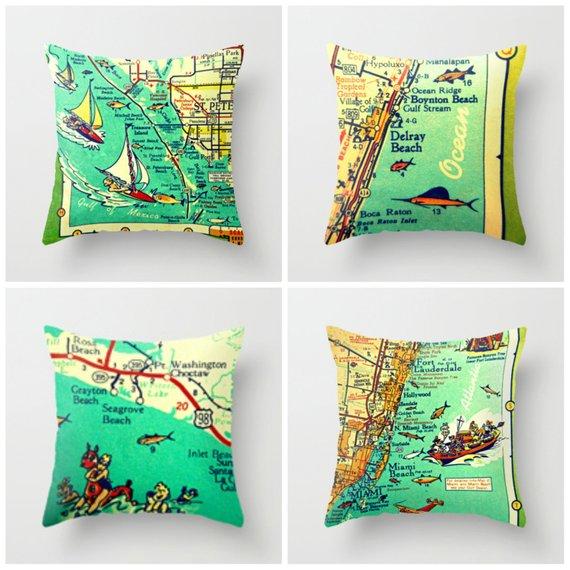 West Palm Beach Florida Map.Palm Beach Florida Map Pillow Cover Palm Beach Pillow West Palm