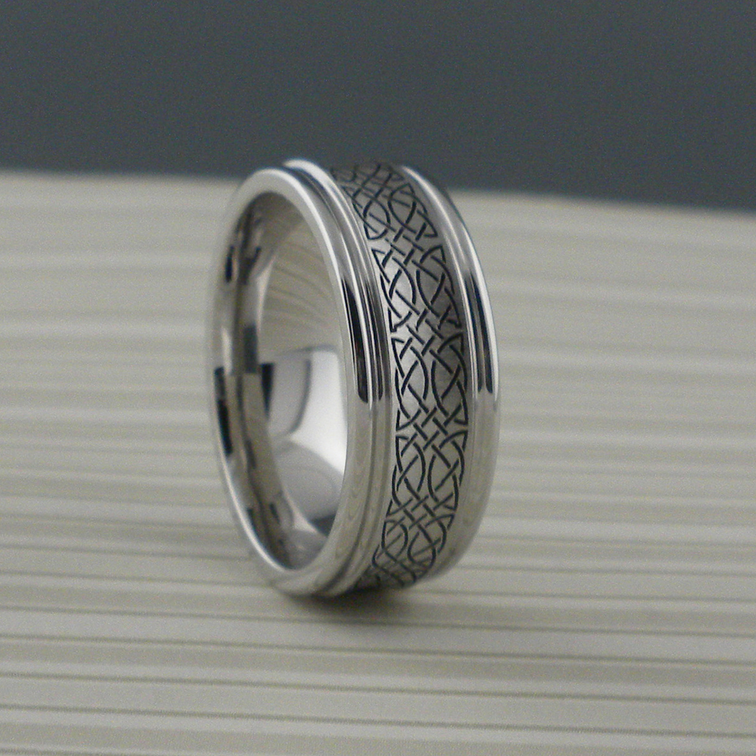 Concave Celtic Knot Wedding Ring in Cobalt Chrome