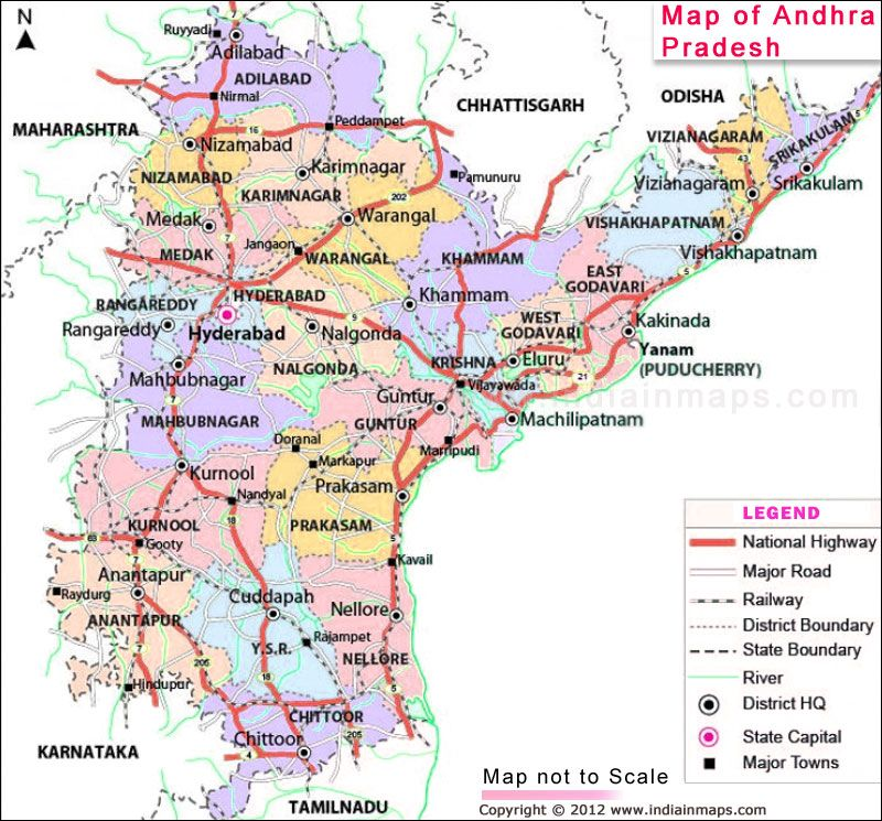 Andhra Pradesh District Map Political Map of Andhra Pradesh India