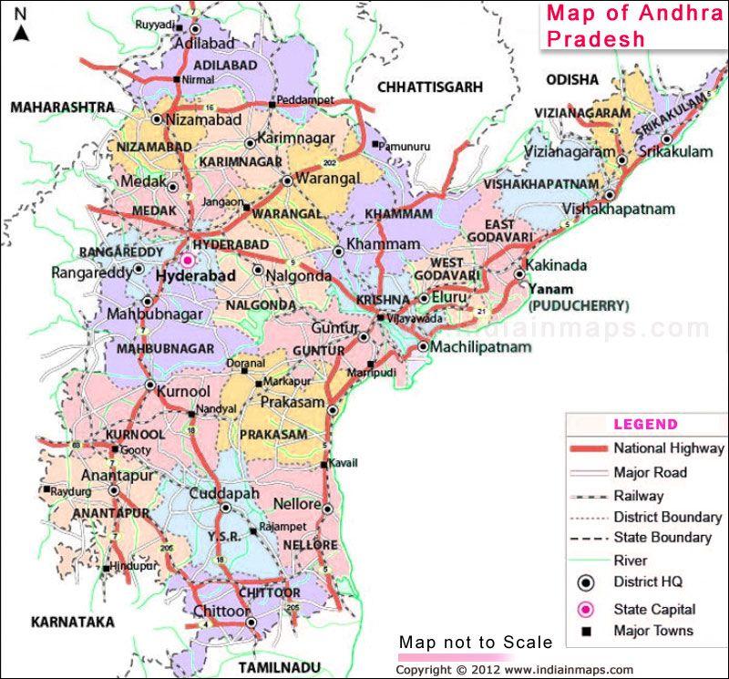Andhra Pradesh District Map. Political Map of Andhra Pradesh ...