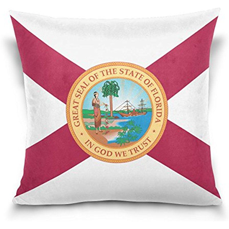 Donnapink Throw Pillow Case Florida Flag American Usa State Flag Square Zippered Cushion Cover 16 X16 Decorativ Cotton Pillow Cases Pillows Throw Pillow Cases