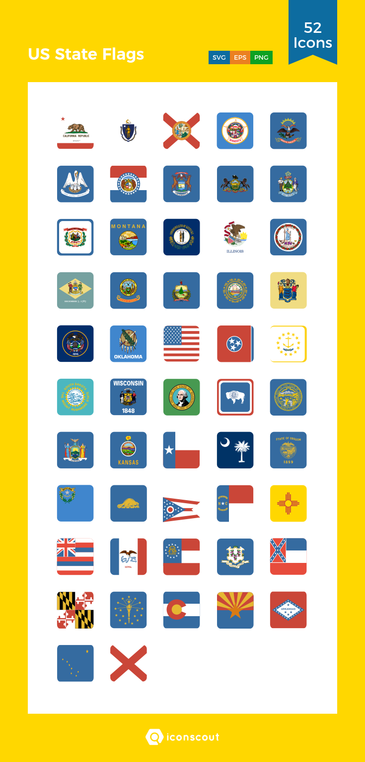 Download Us State Flags Icon Pack Available In Svg Png Eps Ai Icon Fonts Flag Icon Us States Flags State Flags