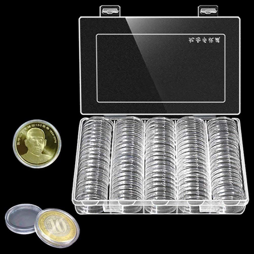 Tray Coin Collection Case Container Organizer Round Capsule Storage Useful