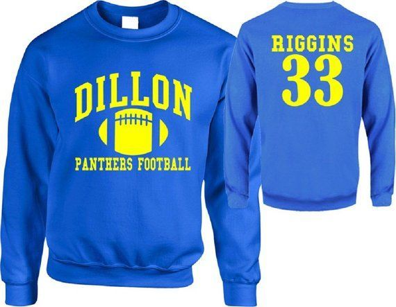 Dillon Panthers Sweater Friday Night Lights Riggins Fitted Sweatshirt Unisex Blue Print Back and Front Jumper FNL Pullover Football TVblue