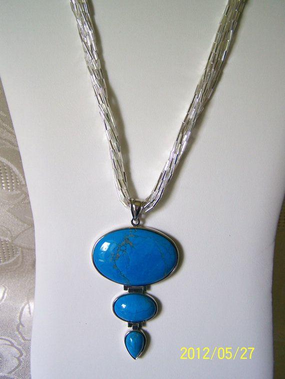 Turquoise Composite Pendant with Liquid by lindasoriginaljewels, $75.00
