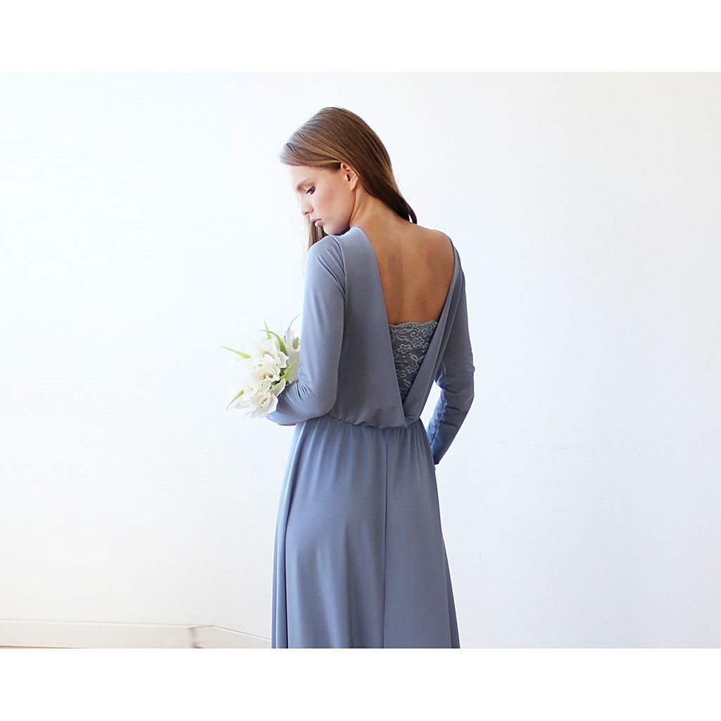 Dusty blue long sleeve formal maxi dress with openback our