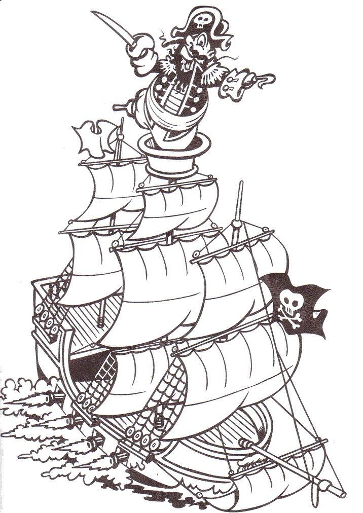 Pirates Fargelegging for barn. Tegninger for utskrift og