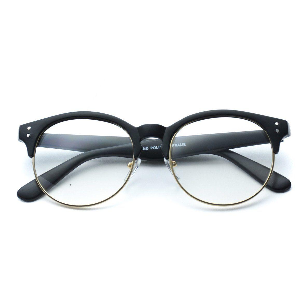 b6ff3e0b11 Winter Clear Half Frame Round Retro Non Prescription Glasses - WearMe Pro
