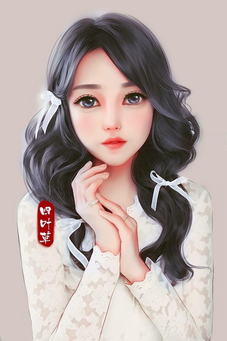 Ribbons In Hair Anime Art Girl Digital Art Girl Chinese Art Girl
