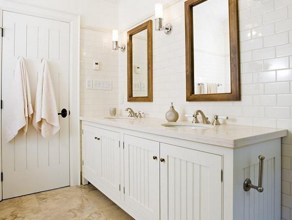 Crisp White Cottage Beachy Bathroom Design With White Beadboard