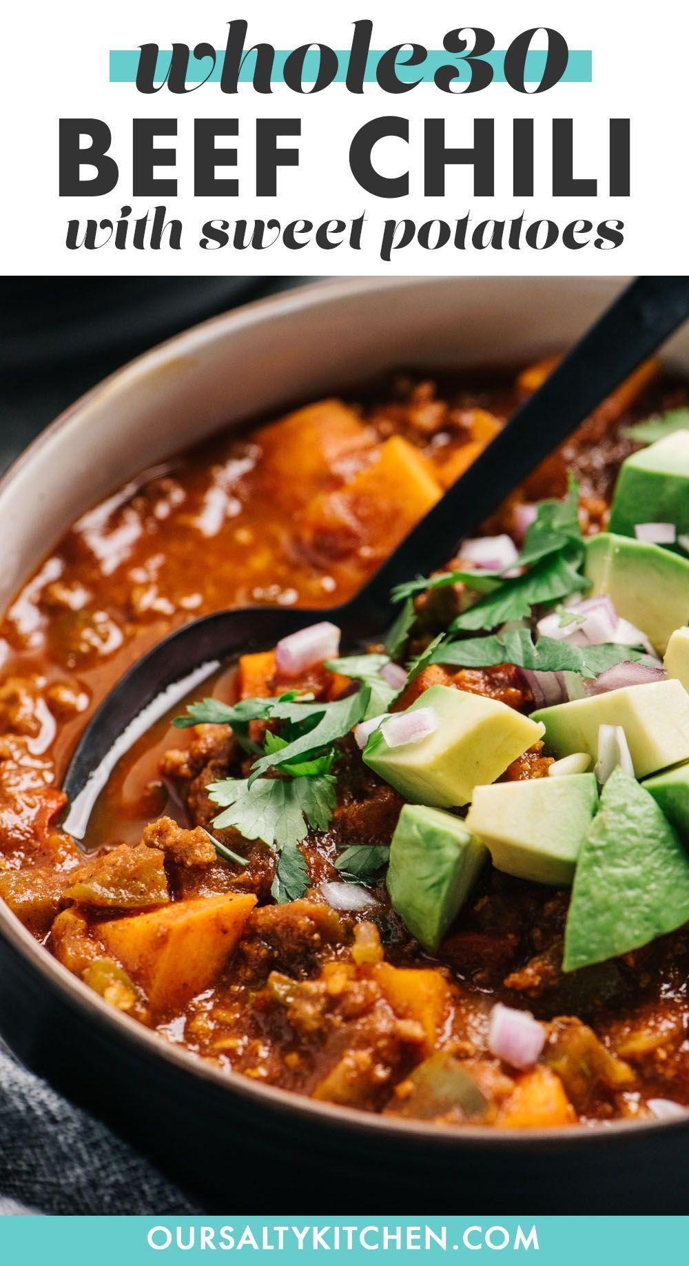 Extra Veggie Beef Chili Whole30 No Bean Recipe In 2020 Healthy Crockpot Recipes Flexitarian Recipes Recipes