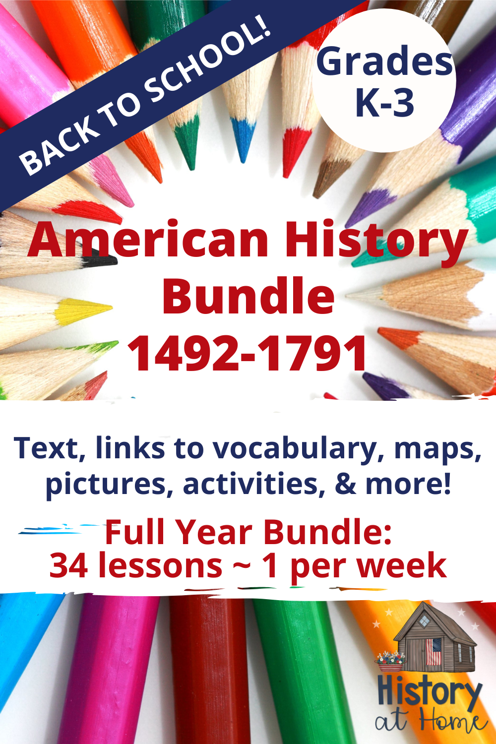 Photo of American History Complete Bundle ~ 34 lessons for Grades K-3 & Homeschool