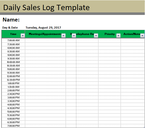 A Sales Log Template Is A Record Of Sold Products Or Services