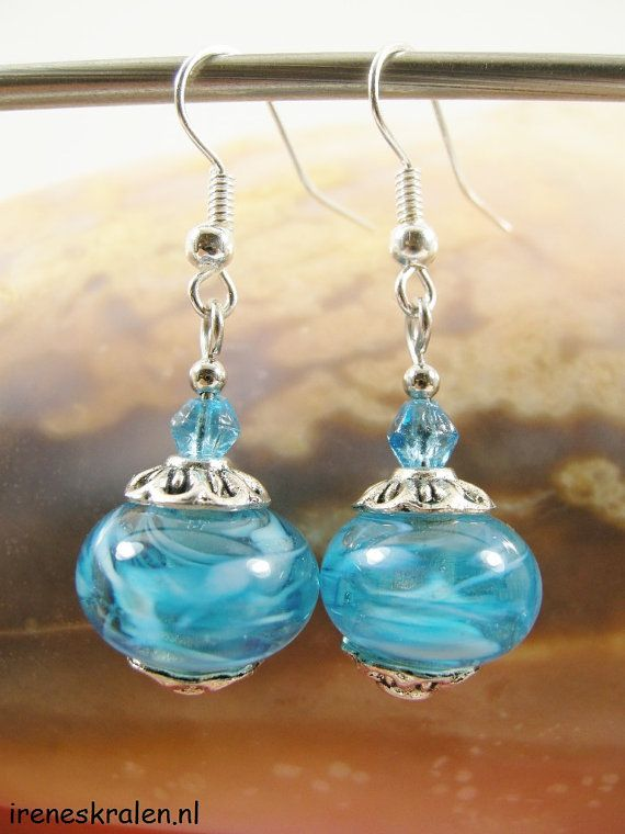 Earrings Homemade Glass Lampwork Beads Turquoise by IrenesBeads, €7.50