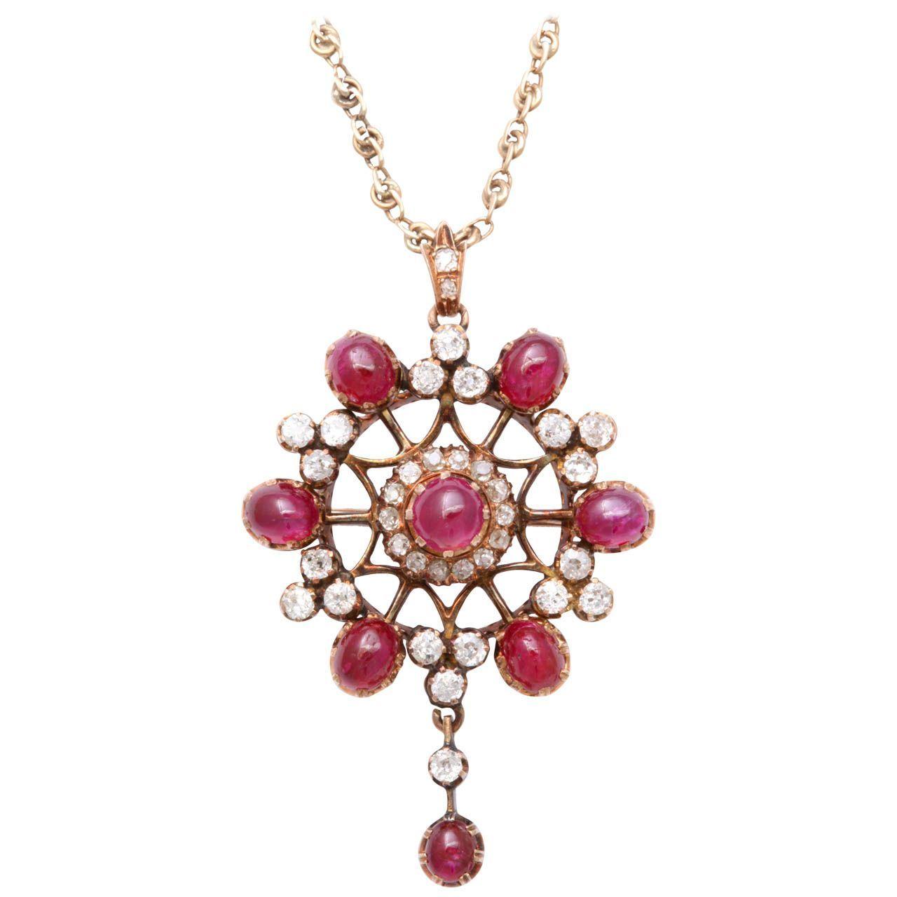 Victorian cabochon ruby u old mine diamond pendant brooch set in