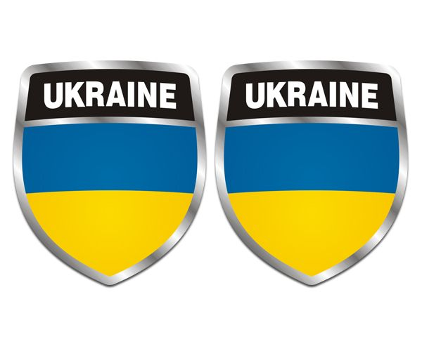Ukraine shield flag decal set 2 3x2 5 ukrainian car