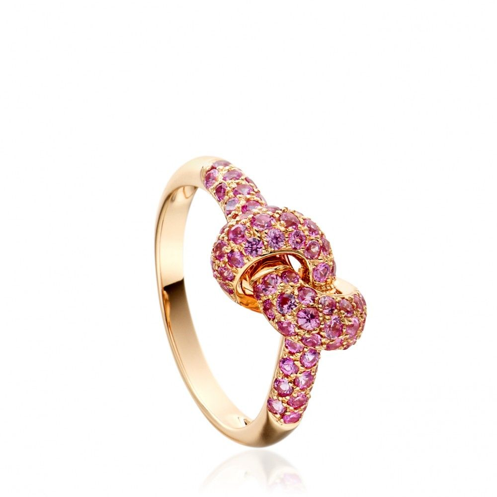 Rose gold and pave pink sapphire love knot ring color pink