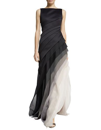 Very Elegant Halston Heritage Pleated Ombre Gown Lord