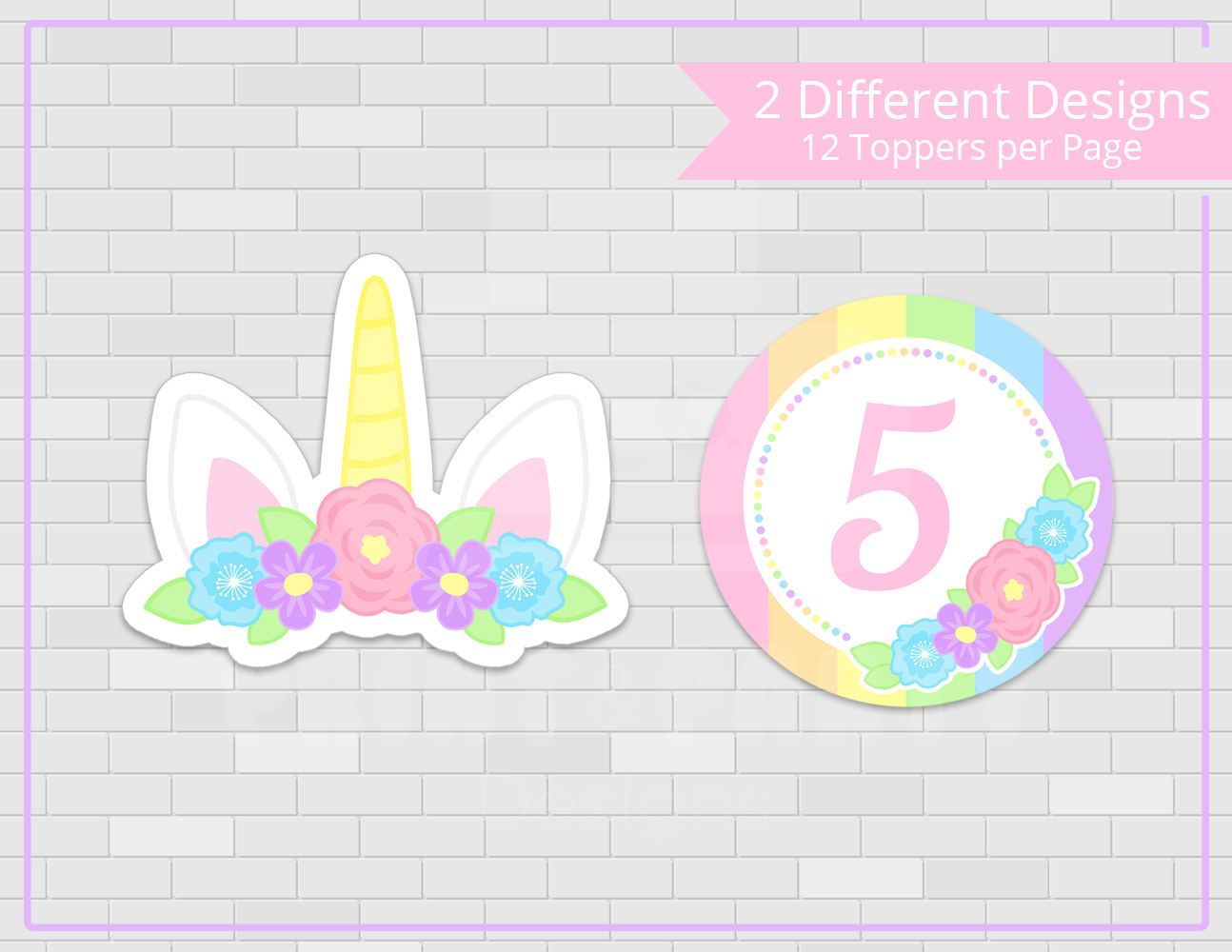 graphic regarding Unicorn Cupcake Toppers Printable identified as Printable Ladies Unicorn Cupcake Toppers and Wrappers
