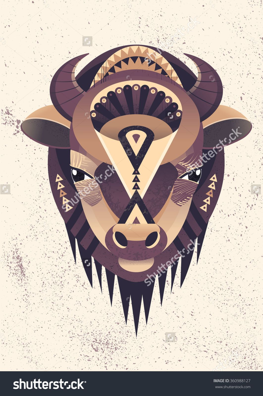 Vector Illustration Of Buffalo Head. Vector Poster With Bison In ...