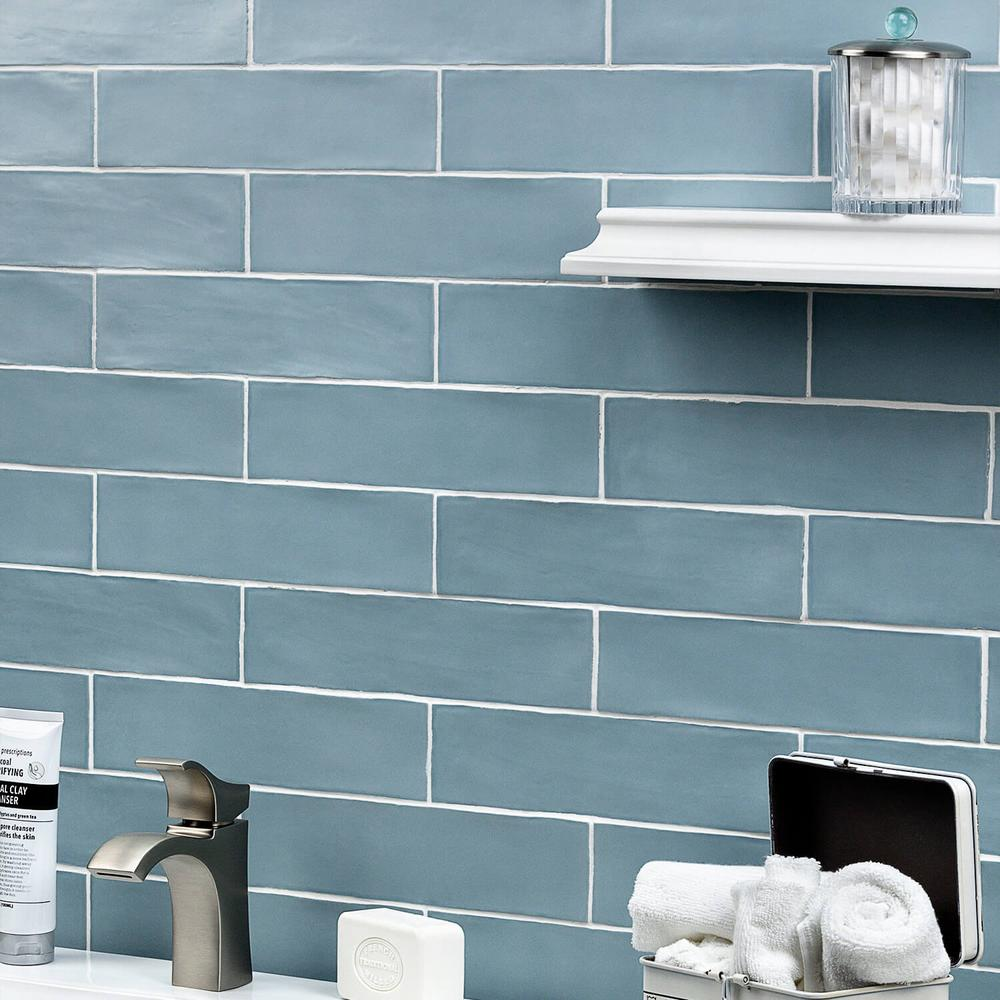 Ivy Hill Tile Strait Blue 3 In X 12 In 8 Mm Polished Ceramic Subway Wall Tile 22 Piece 5 38 Sq Ft Box E In 2020 Blue Tile Backsplash Blue Glass Tile Blue Tiles