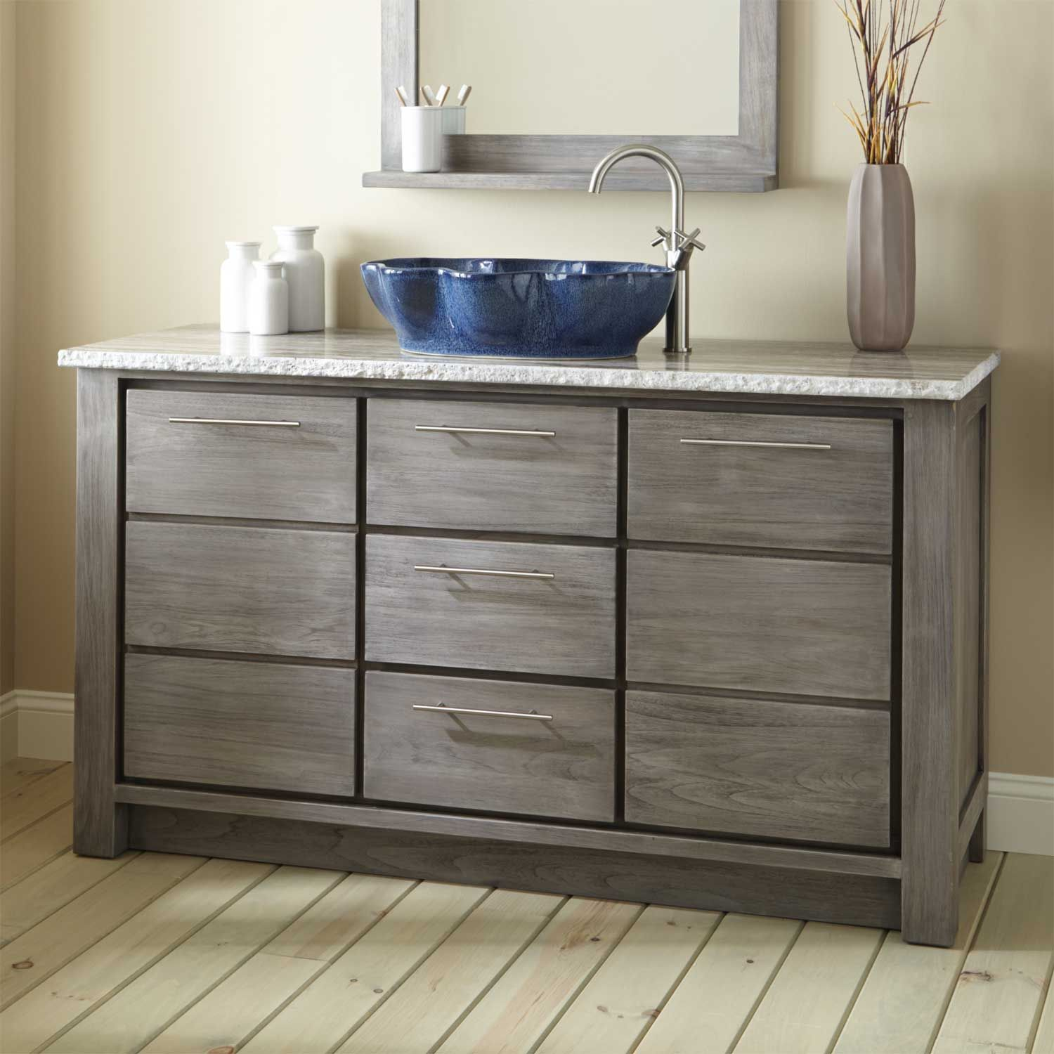 Blue Gemstone Bathroom Vessel Sink Vanity On Walnut Wood