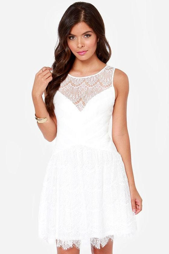 Ivory Lace Casual Dress
