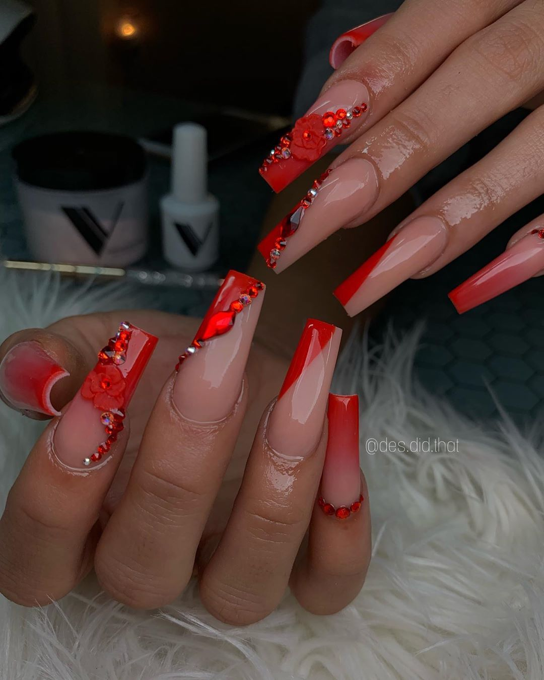 Desteny Jones 20 Y O On Instagram Desdidthat Use Code Desdidthat For Off Angelcry Red Acrylic Nails Long Acrylic Nails Coffin Vday Nails