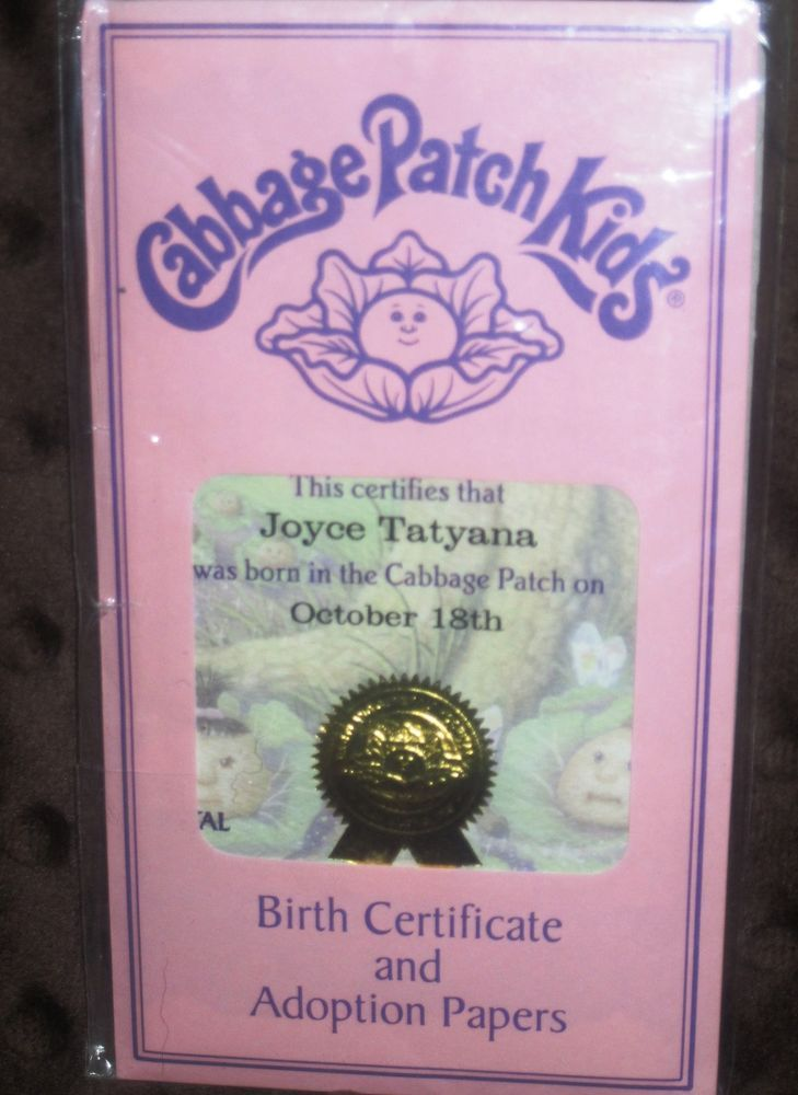 Modern cabbage patch kid birth certificate adoption papers for Cabbage patch kid birth certificate template