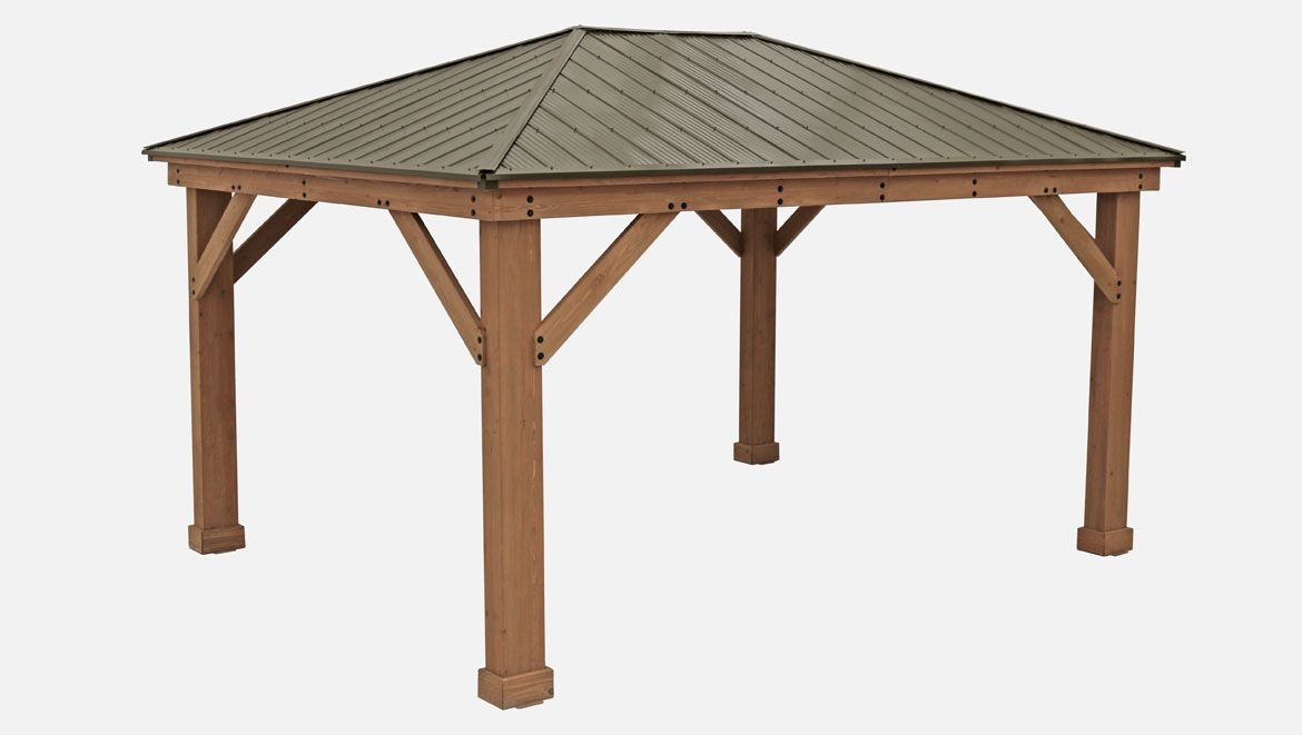 12 X 16 Wood Gazebo With Aluminium Roof Yardistry Structures Gazebos Pavilions And Pergolas In 2020 Aluminum Roof Gazebo Backyard Dining Area