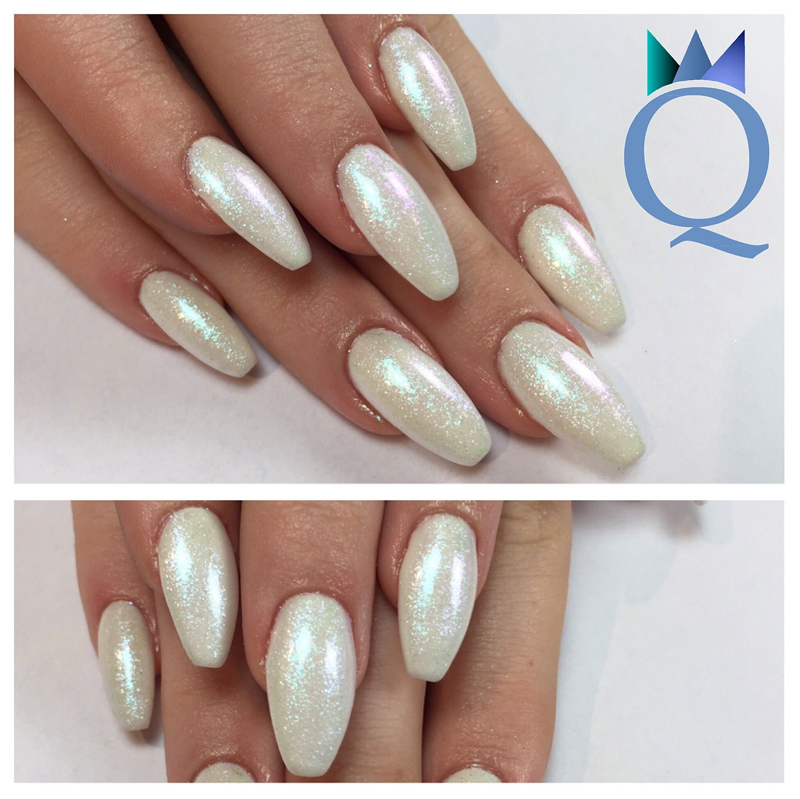 Coole Gelnägel Coffinnails White Glitter Gelnails Nails Ballerinaform Weiss