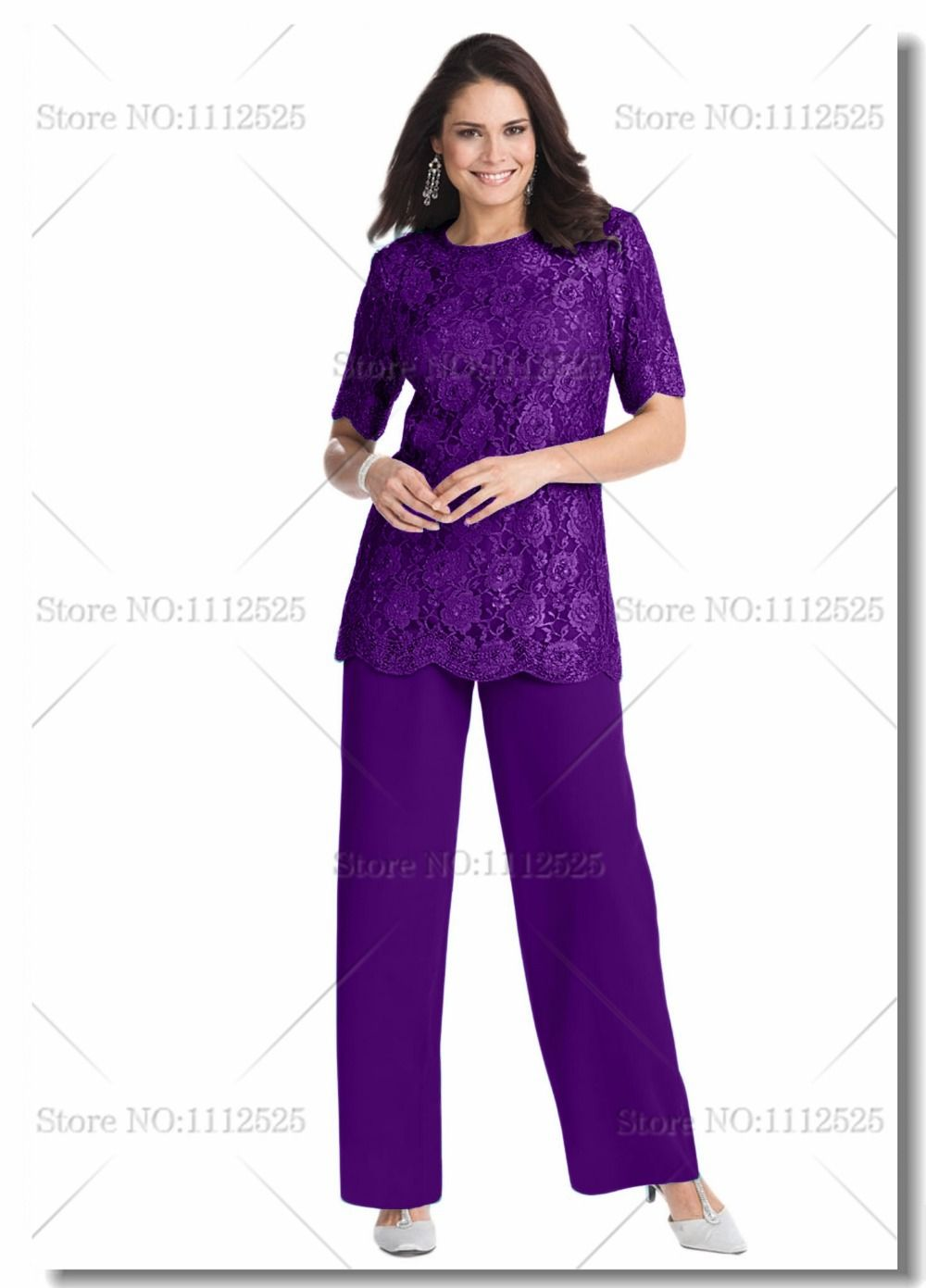 Plus size purple Two piece mother of the bride pant suits with lace ...