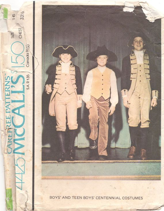 McCalls 4425 Teen Boys Patriotic Costume Patter Centennial Coat ...