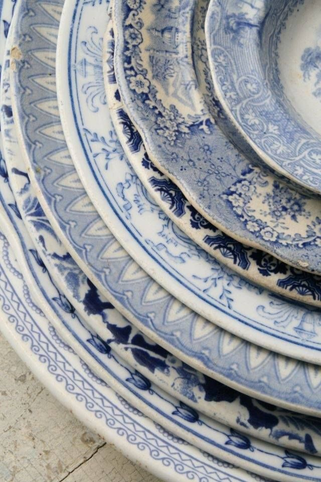 Blue and white mix matched dinnerware.