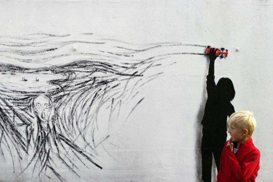 Streetartowy hołd dla Edvarda Muncha w norweskim Stavenger. (autor: Pejac)