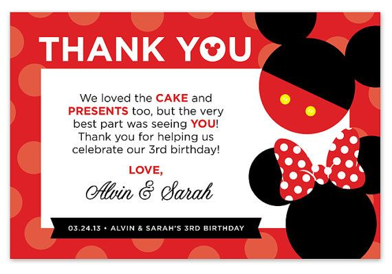 Disney Mickey Mouse Minnie Mouse Thank You By Paperheartsbyj