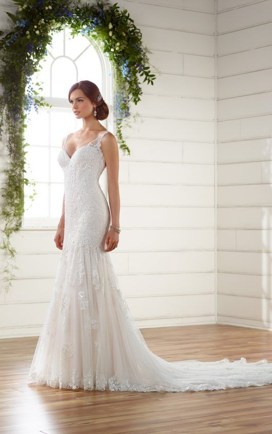 Vintage Boho Wedding Dress With Pearl Beading Bridal Gowns - Essense Wedding Dress