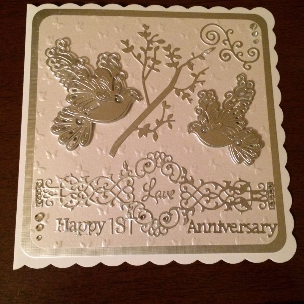 tattered lace 1st wedding anniversary card using dove dies